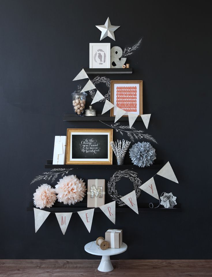 Why not use your shelves to 'fake' a christmas tree shape? Don't forget the star!