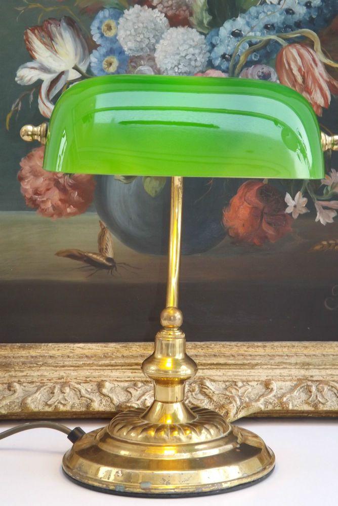 classic edwardian style green glass u0026 brass swivel head bankers desk lamp