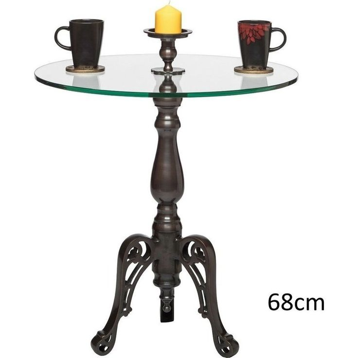 Iron & Glass Round Side Table w/ Candle Holder 68cm | Buy Tables