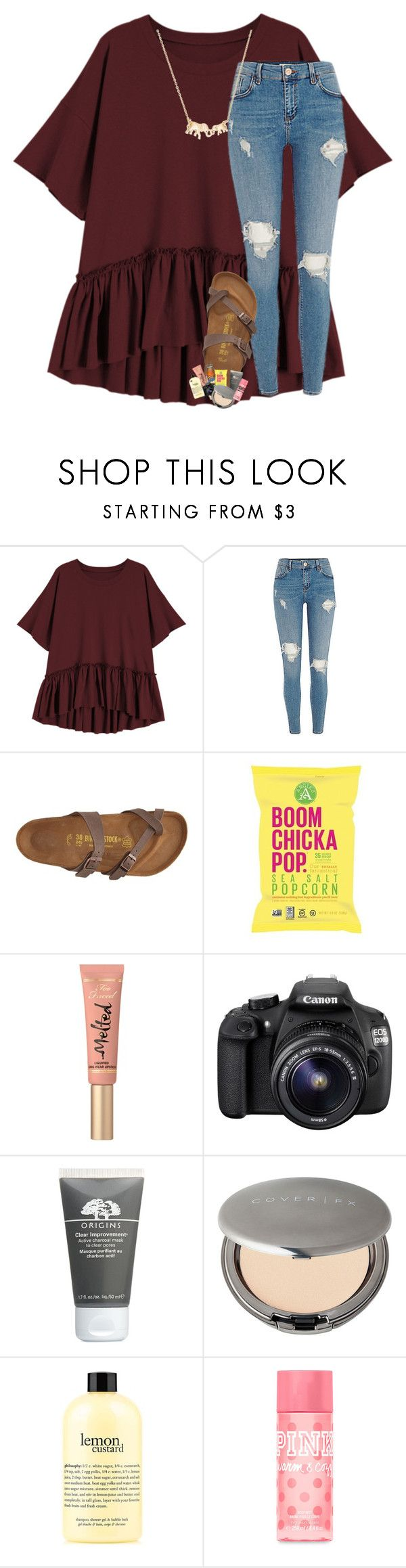 """come Vibe w/ Me"" by southernmermaid ❤ liked on Polyvore featuring Birkenstock, Too Faced Cosmetics, Eos, Origins, Cover FX, philosophy, Victoria's Secret PINK and Kate Spade"