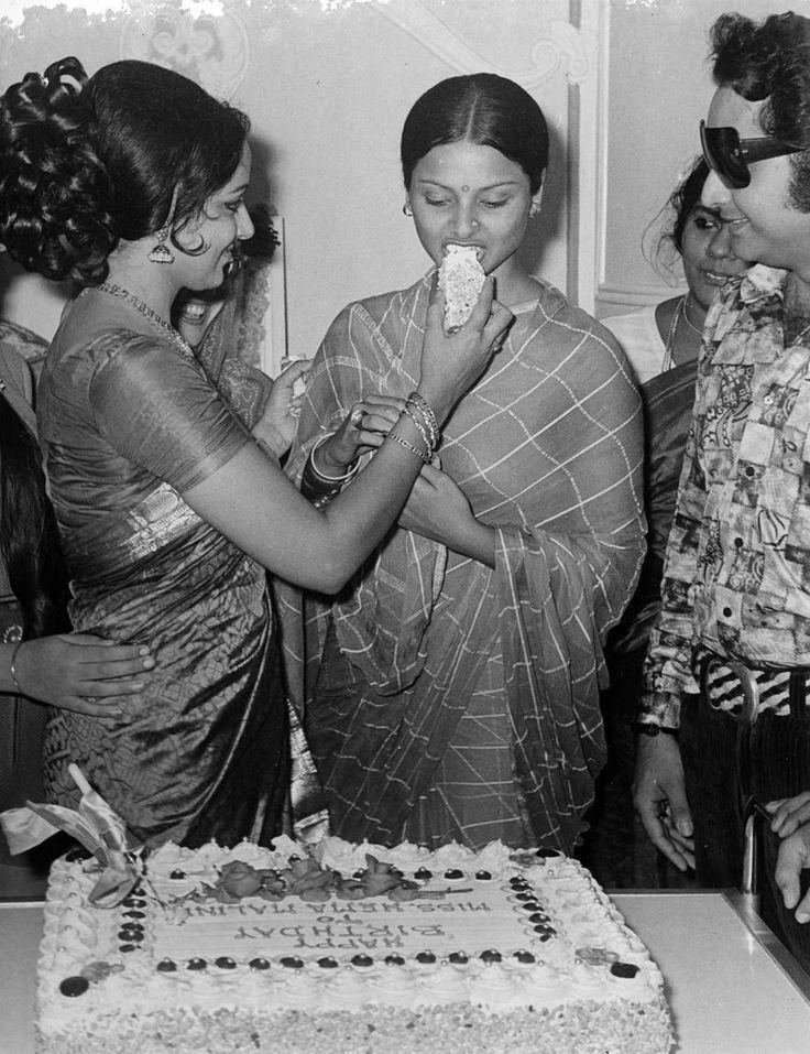 """simplicitylovebeauty: """"Rekha eating cake at Hema Malini's birthday party. """""""