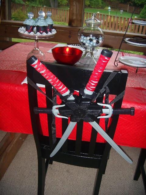Ninja birthday ideas swords on chairs dad steals