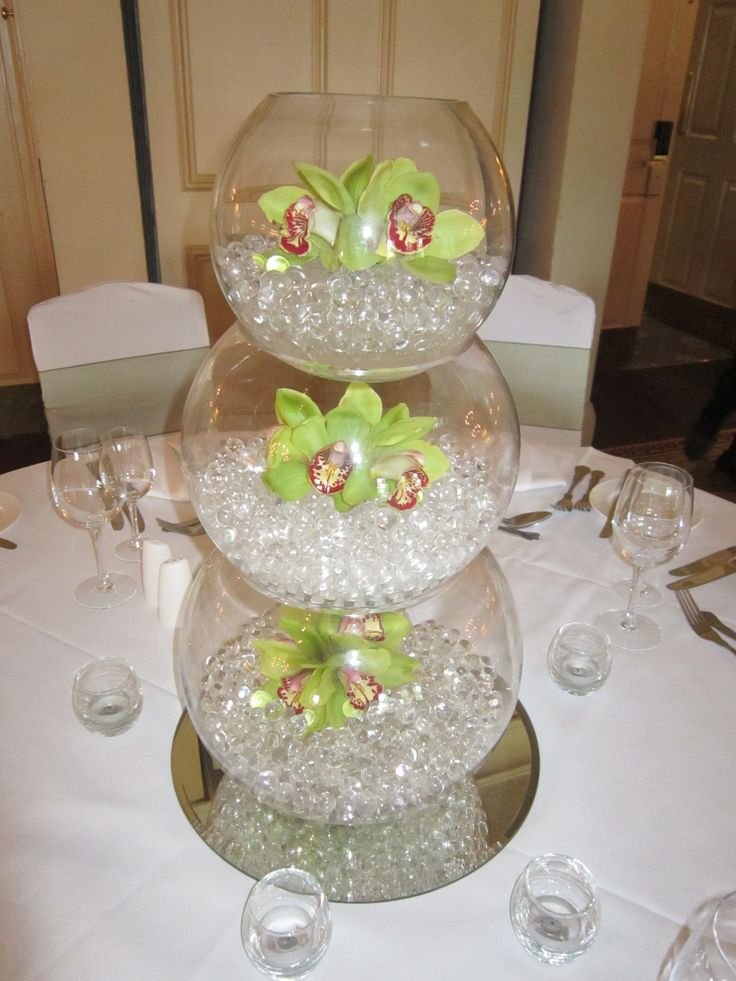 Triple fishbowl vase with cymbidium orchids centerpieces