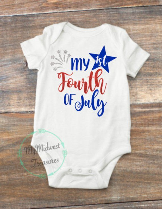 It is my First 4th of July baby bodysuit