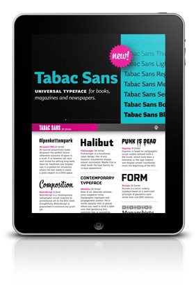 Type Specimen for iPad - such a well designed UI.
