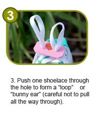 A neat little tool to help with making loops to tie shoes...not sure it would be any easier to push the laces through the hole like this...but who knows...