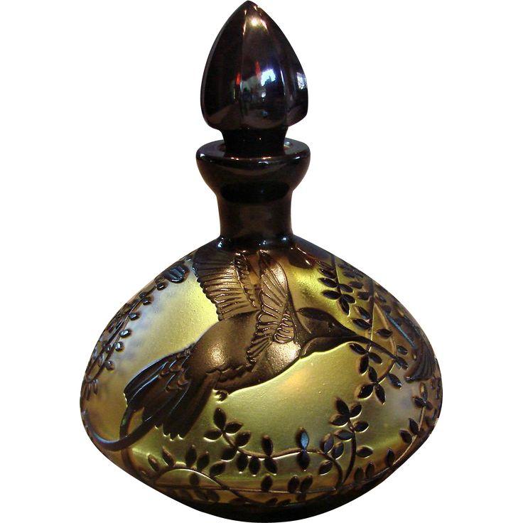 Bohemian Czech Cameo Amber Art Glass Perfume Bottle 3 Carved Hummingbirds Birds Signed c After 1930