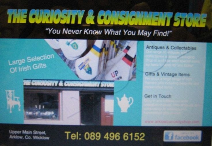 At The Curiosity & Consignment Shop, Arklow, Co. Wicklow you'll find an amazing & eclectic mix of Antiques, Collectables, Old, New, Vintage & Retro Items. We also stock a large selection of Irish Gifts and Bespoke & Handcrafted Items.  Why not drop in and browse our wide collection…You never know what you may find!  Website www.arklowcuriosityshop.com  www.facebook.com/thecuriosityconsignmentshop