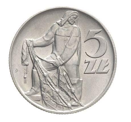 moneta - 5 złotych - z rybakiem
