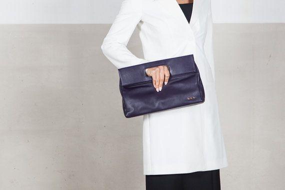 Hobo clutch, purple leather bag