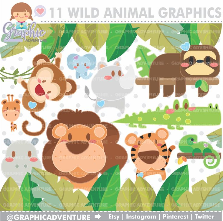 75%OFF - Animal Clipart, Animal Graphics, COMMERCIAL USE, Kawaii Clipart, Jungle Clipart, Jungle Graphic, Planner Accessories, Zoo Clipart