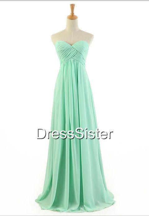 Etsy Aline Long Mint Bridesmaid Dress  Long Bridesmaid by DressSister, $99.99
