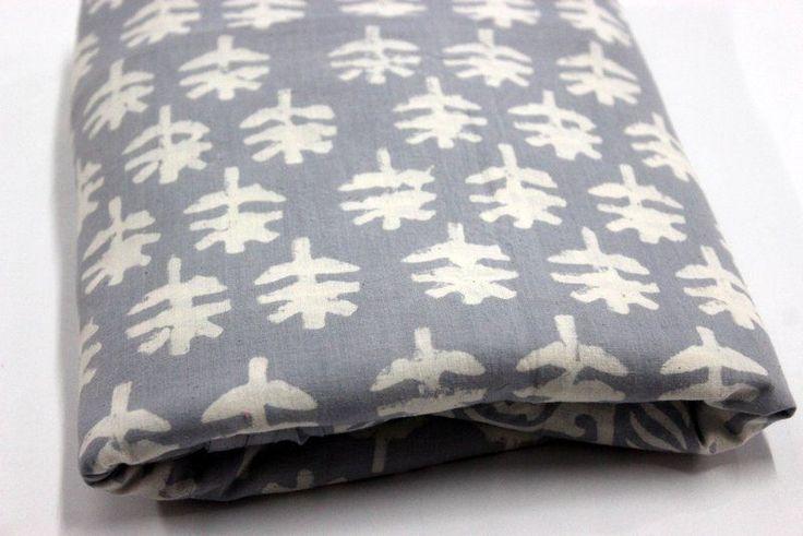 1 Yard India Hand Block Indigo Blue Ikat Print 100% Cotton Fabric Bagaru Print #Handmade