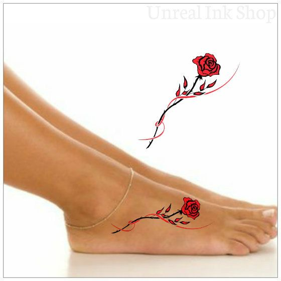Rose tatouages pied 1 tatouage temporaire par ...