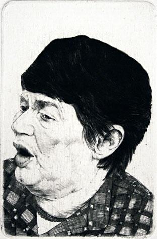 Arne Bendik Sjur. 1986 Portraits XXXV, 1986. Drypoint.