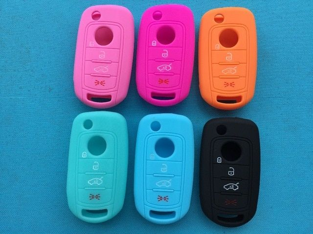 SILICONE KEY FOB COVER SHELL HOLDER REMOTE CASE FOR JEEP CHRYSLER DODGE 1PC