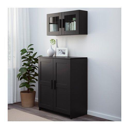 BRIMNES Cabinet with doors - black - IKEA