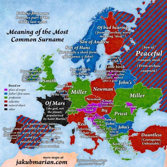El mapa que muestra los apellidos más comunes de Europa (y su significado) | Verne EL PAÍS