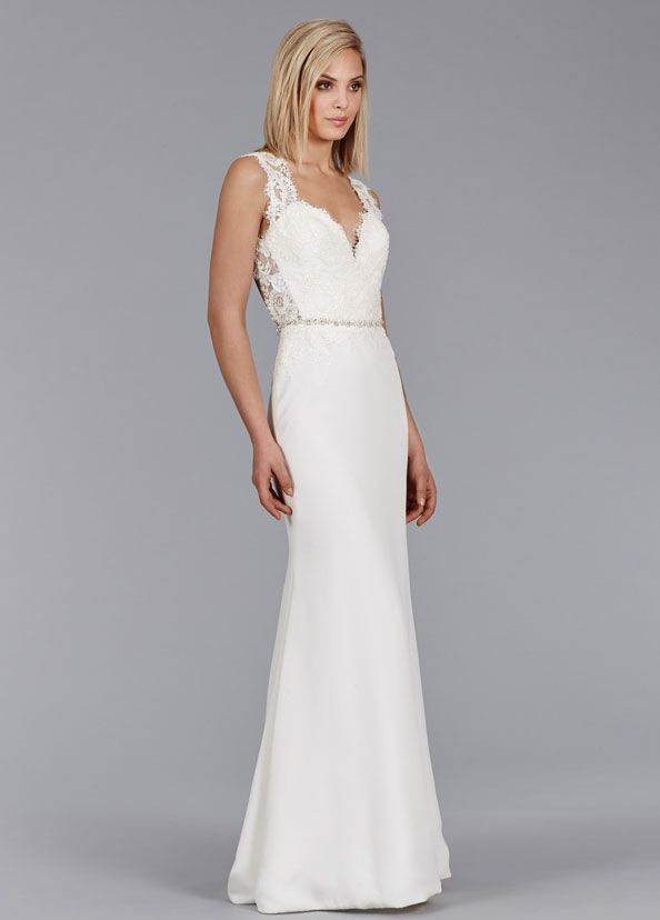 Ivory Silk Crepe Modified A Line Bridal Gown Alencon Lace Bodice Drop Waist Open Back With