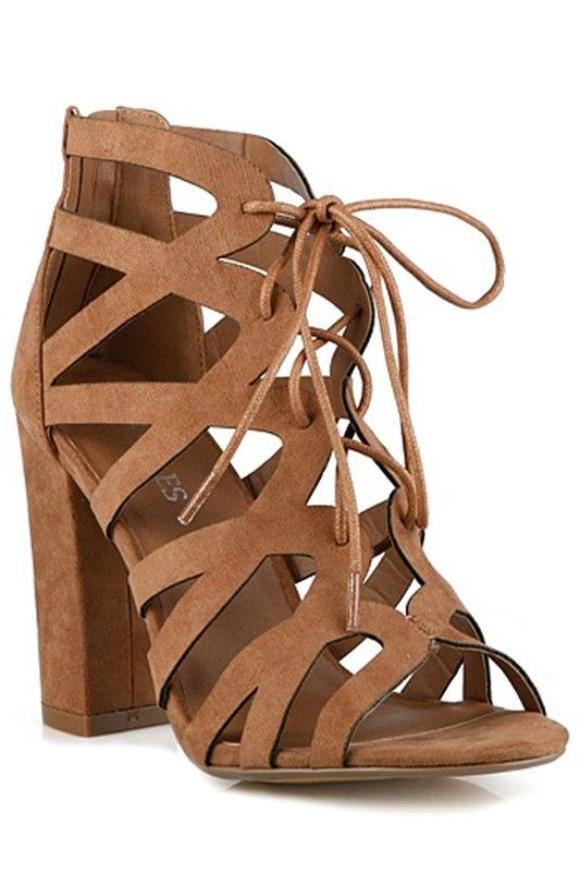 BLAKE CAGED THICK HEELS -TAN