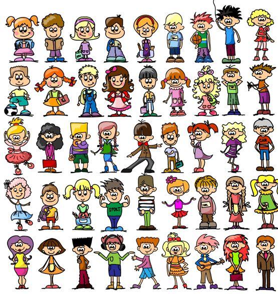 Cartoon kids vector free