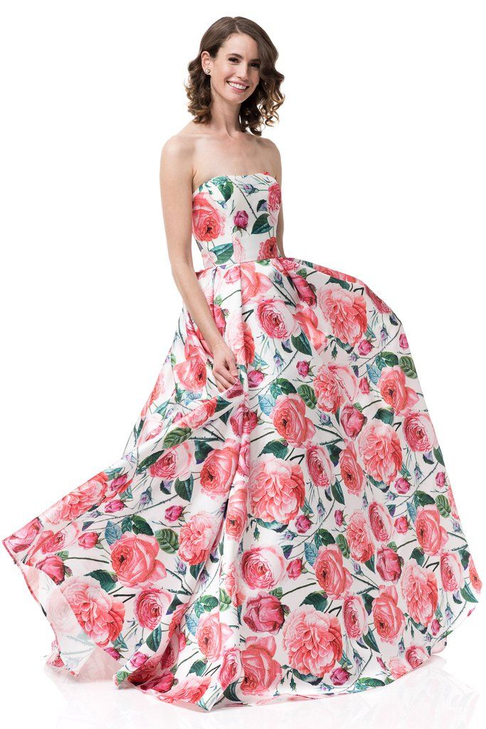 eae753d852e6 Pink floral prom dress # MZ3477 in 2019   Simply Fab Dress-sexy evening  gowns   Prom dresses, Floral prom dresses, Dresses