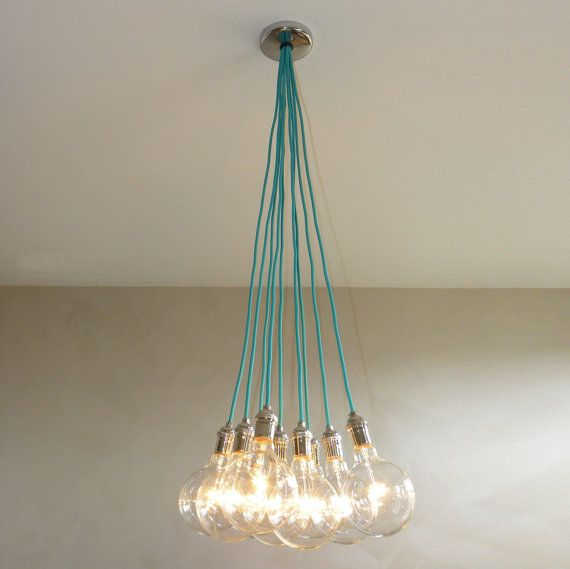 Custom made to order pendant cluster lights - See pictures for available cord colors, socket finishes, and bulb choices This listing is for a