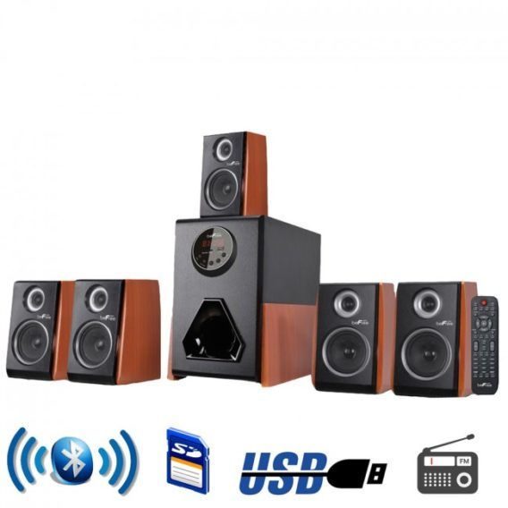 Luxury 5.1 Channel Surround Sound Bluetooth Speaker System with Wood Finish Accents � As Seen on TV Guide