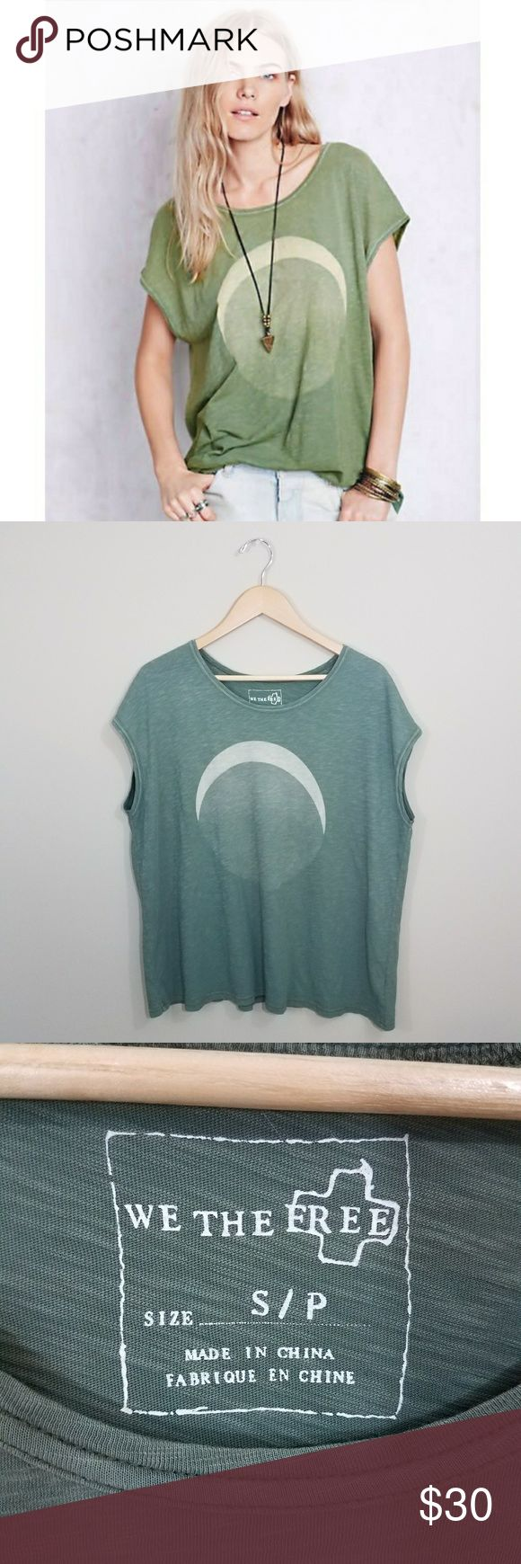 """We the Free Thunder Moon t-shirt Oversized t-shirt. Chest 27"""" armpit to armpit, length 26"""" from the top of the shoulders to the bottom of the shirt. 100% cotton. Free People Tops Tees - Short Sleeve"""