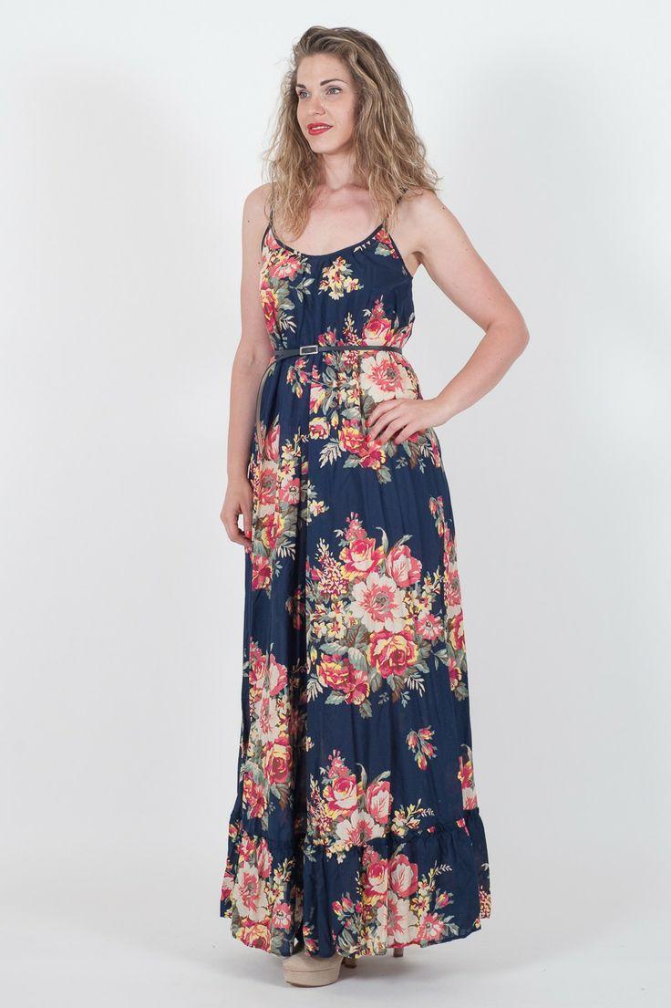 #Abito lungo da #donna #Twin-Set Jeans.  - Fantasia floreale - Scollo a stretta - Vestibilità morbida per fianchi #curvy - Adatto per cerimonie all'aperto