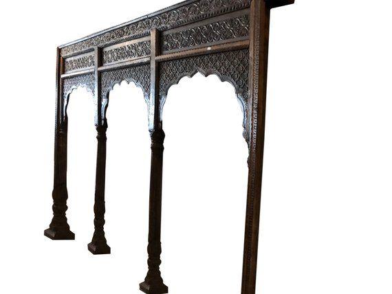 Mogul Inspired Antique Rare Teak Hand Carved Railing Architectural Indian Furniture