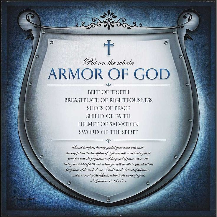 """[""""The Full Armor of God Plaque features artwork by Shevon Johnson. The illustration depicts a strong, silver shield with silver embellishments. At the top of the shield, the words, \""""Put on the Whole Armor of God\"""" are displayed. The elements of the armor of God are written below, \""""Belt of Truth, Breastplate of Righteousness, Shoes of Peace, Shield of Faith, Helmet of Salvation, Sword of the Spirit.\"""" <br><br>Ephesians 6:14-17 is displayed in cursive, stating, \""""Stand therefore, having ..."""