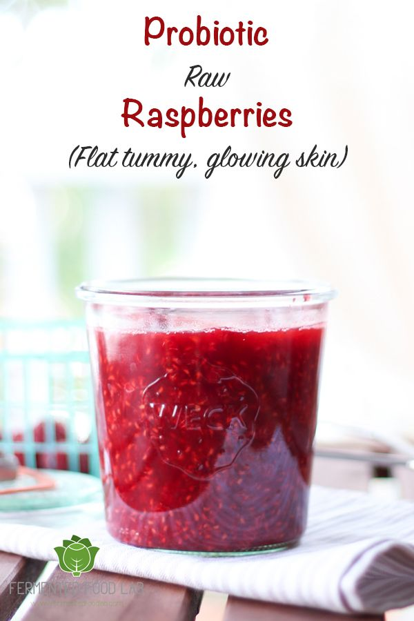 Probiotic Raw Raspberries recipe. They are slightly sweet, tart, and bubbly. Side effects are a flatter tummy and glowing skin.