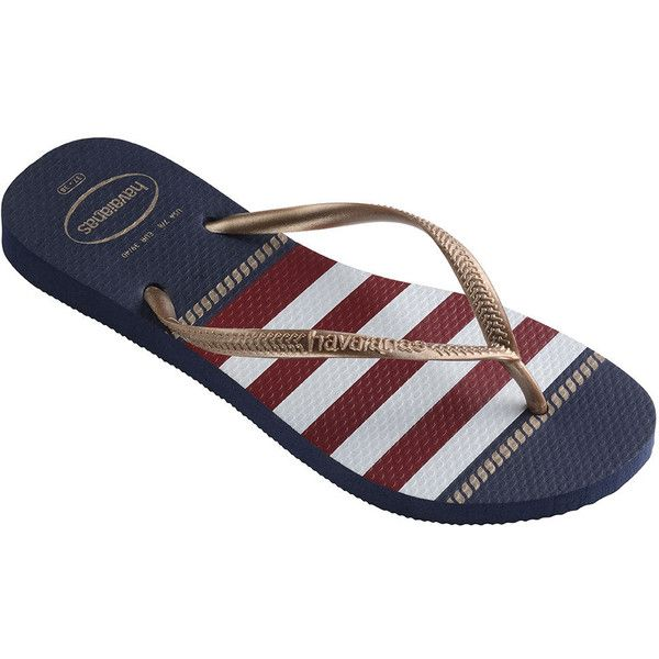 Havaianas Slim Nautical Sandal Women's Navy Sandal 6 M ($30) ❤ liked on Polyvore featuring shoes, sandals, flip flops, navy, havaianas, navy blue sandals, havaianas shoes, navy sandals and anchor flip flops
