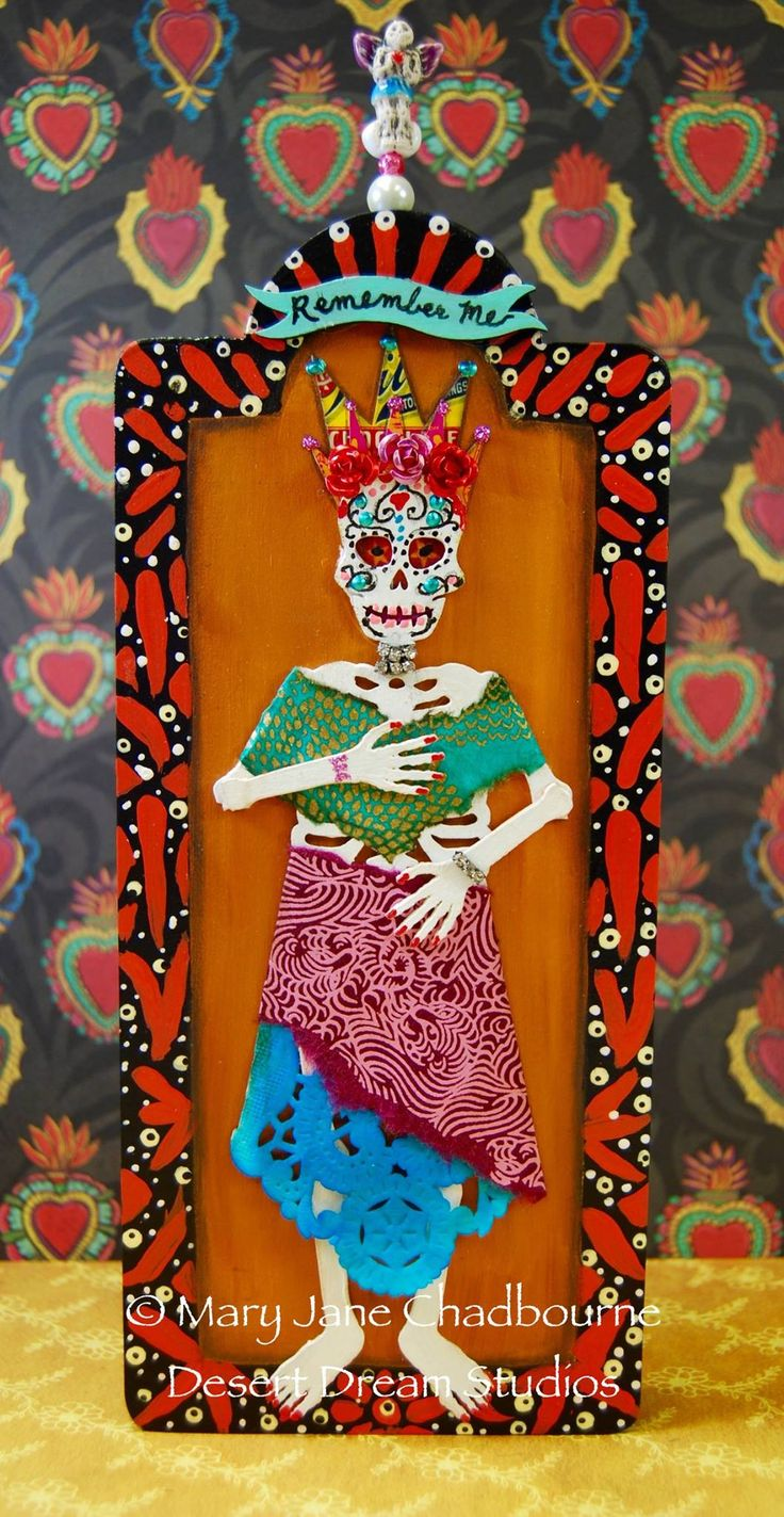 2366 best dia de los muertos images on pinterest sugar skulls retablos created to celebrate the day of the dead part of my online class this dailygadgetfo Choice Image