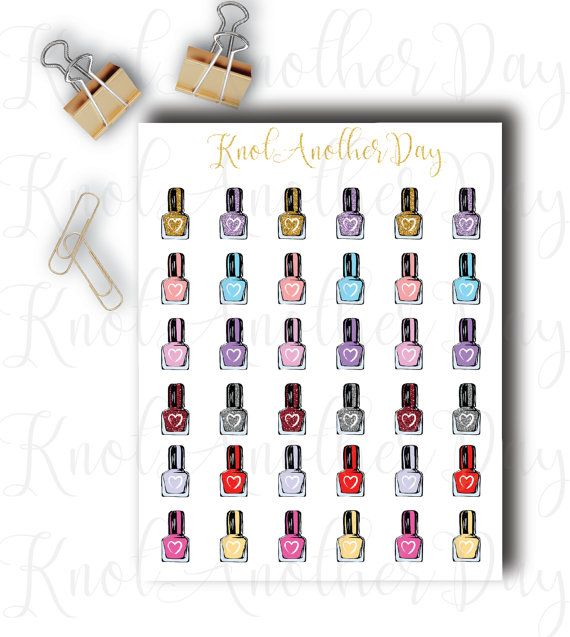 Nail Polish Stickers for all planners by KnotAnotherDay on Etsy