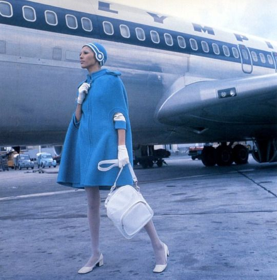 Olympic Airlines Stewardess Uniform by Pierre Cardin, 1969.