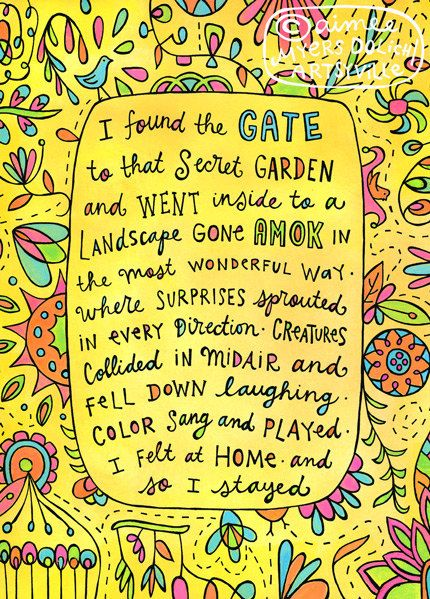 """""""Secret Garden"""" by Artsyville. The importance of retreating to our happy hiding place! Featured in the mixed-media book The Artist Unique by Carmen Torbus. Illustration and text © Aimee Myers Dolich. artsyville.etsy.com."""