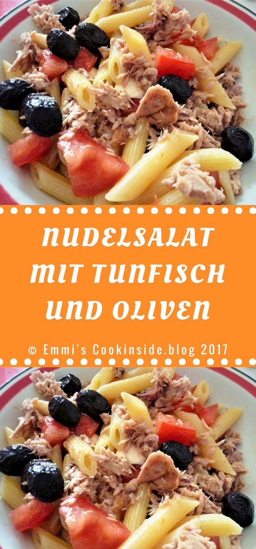 Nudelsalat mit Tunfisch und Oliven! Einfache Zutaten vereint zu einem einfachen und leckeren Nudelsalat: Nudeln, Tunfisch, Tomaten, Oliven, Olivenöl! Im Nu zubereitet! Perfekt für alle Gelegenheiten oder als Snack im Büro!