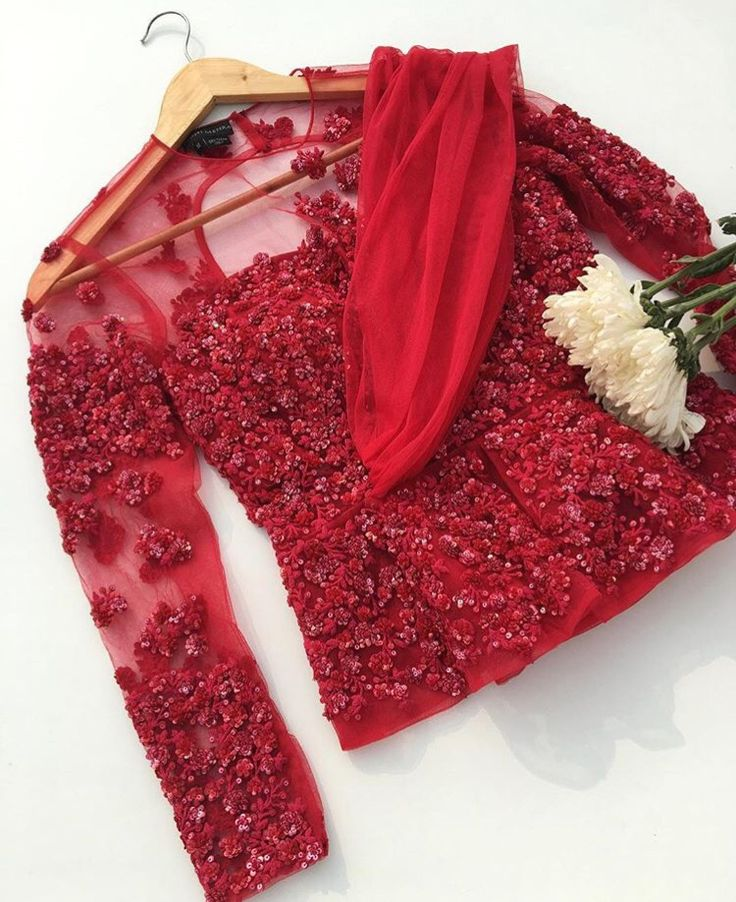 Ridhi Mehra # bridal look # hand crafted # blouse style # red love