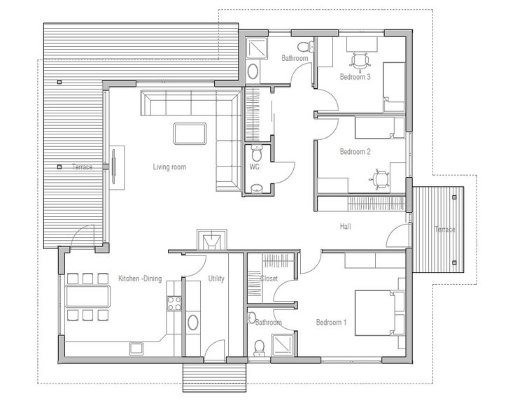 Modern House Plan With Classical Lines Logical Room Layouts Three Bedrooms Covered Terrace Fireplace