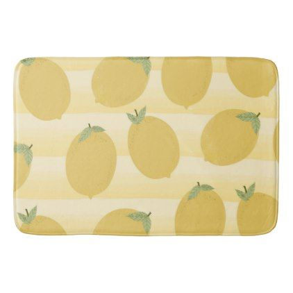 #Yellow Lemons Summer Fruit Watercolor Fun Bright Bathroom Mat - #country gifts style diy gift ideas