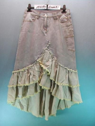 Jean skirt with ruffles. This works well as steampunk because it is not a blue denim, so it looks less like the typical denim skirt. Use bleach and/or dye if all you have is blue denim. Great way to give new life to jeans that fit well but have large holes in the knees or crotch.