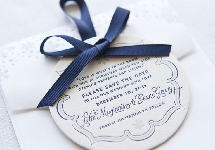 Winter Themed Save the Date - love the bauble shape of this elegant save the date card. Custom Wedding Announcements | New Jersey Letterpress Invites
