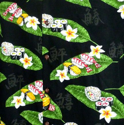100% Poplin Cotton, Pacific Legend Brand,  Made in Hawaii. Sushi Men's cotton Aloha shirt created in Black and White. MauiShirts search box stock number: 410-3950