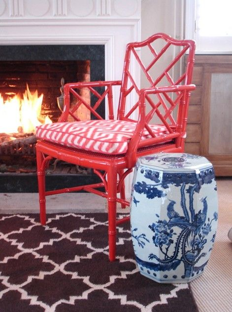 Pair of vintage coral faux bamboo chairs.-empel-collections-red chippendale- ...
