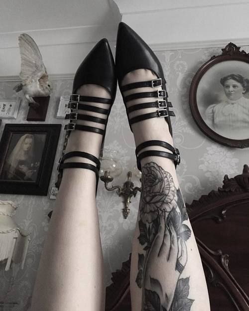 Pointed shoes. Witch