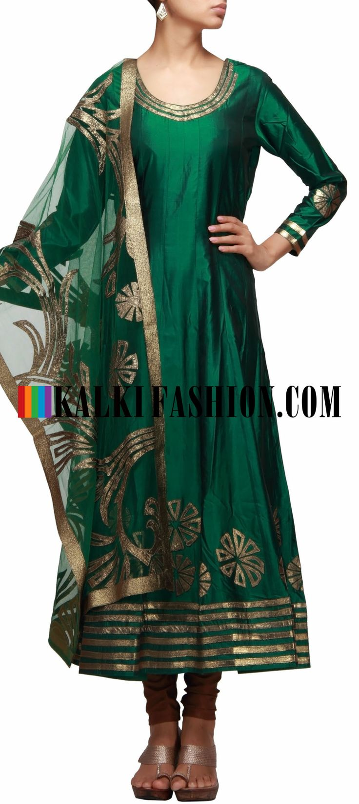 Buy Online from the link below. We ship worldwide (Free Shipping over US$100) http://www.kalkifashion.com/green-anarkali-suit-embellished-in-leather-cut-work.html Green anarkali suit embellished in leather cut work