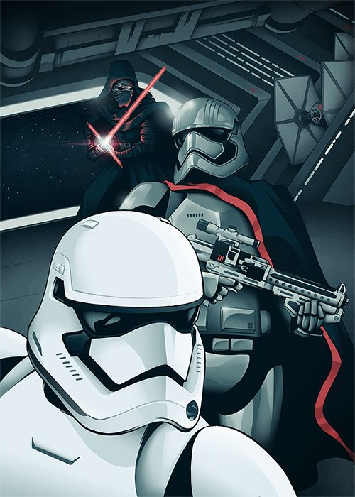 Amazing Star Wars: The Force Awakens illustration! First Order Stormtrooper, Captain Phasma, and Kylo Ren!