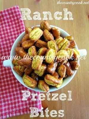 Ranch Pretzel Bites -- snyders sourdough pretzel nibblers, orville redenbacher popcorn oil, dry ranch dressing mix, dried dill weed, garlic powder